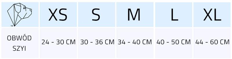 rozmiarówka obroża z klamrą