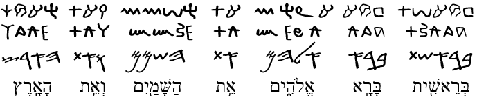 Genesis 1:1 in ancient alphabets