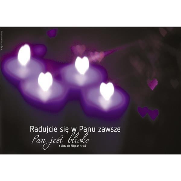 Plakat adwent 2016 fioletowe świece
