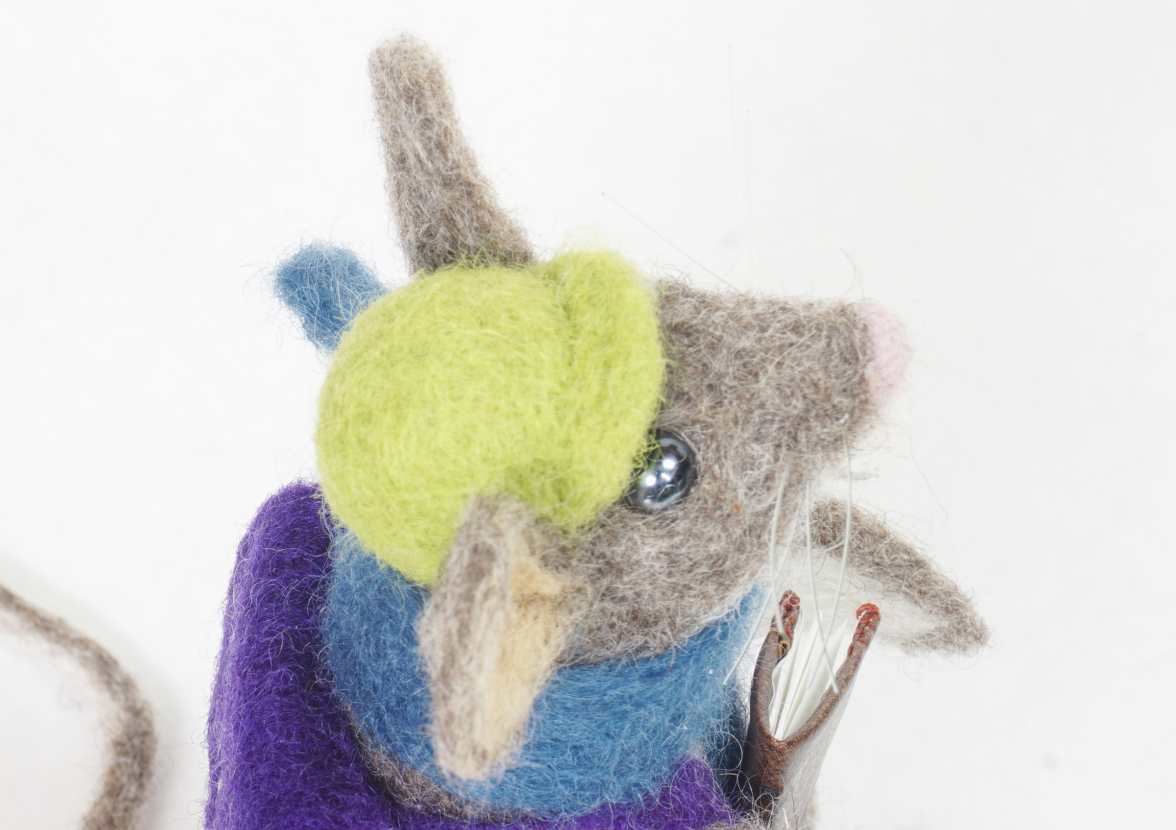 Adventure Begins anthropomorphic needle felted mouse art doll - hat