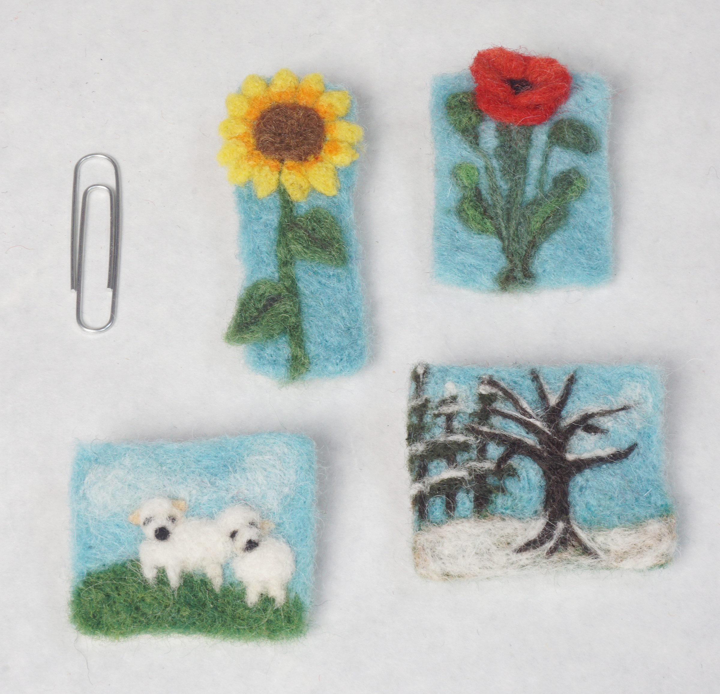 Needle felted pins/brooches