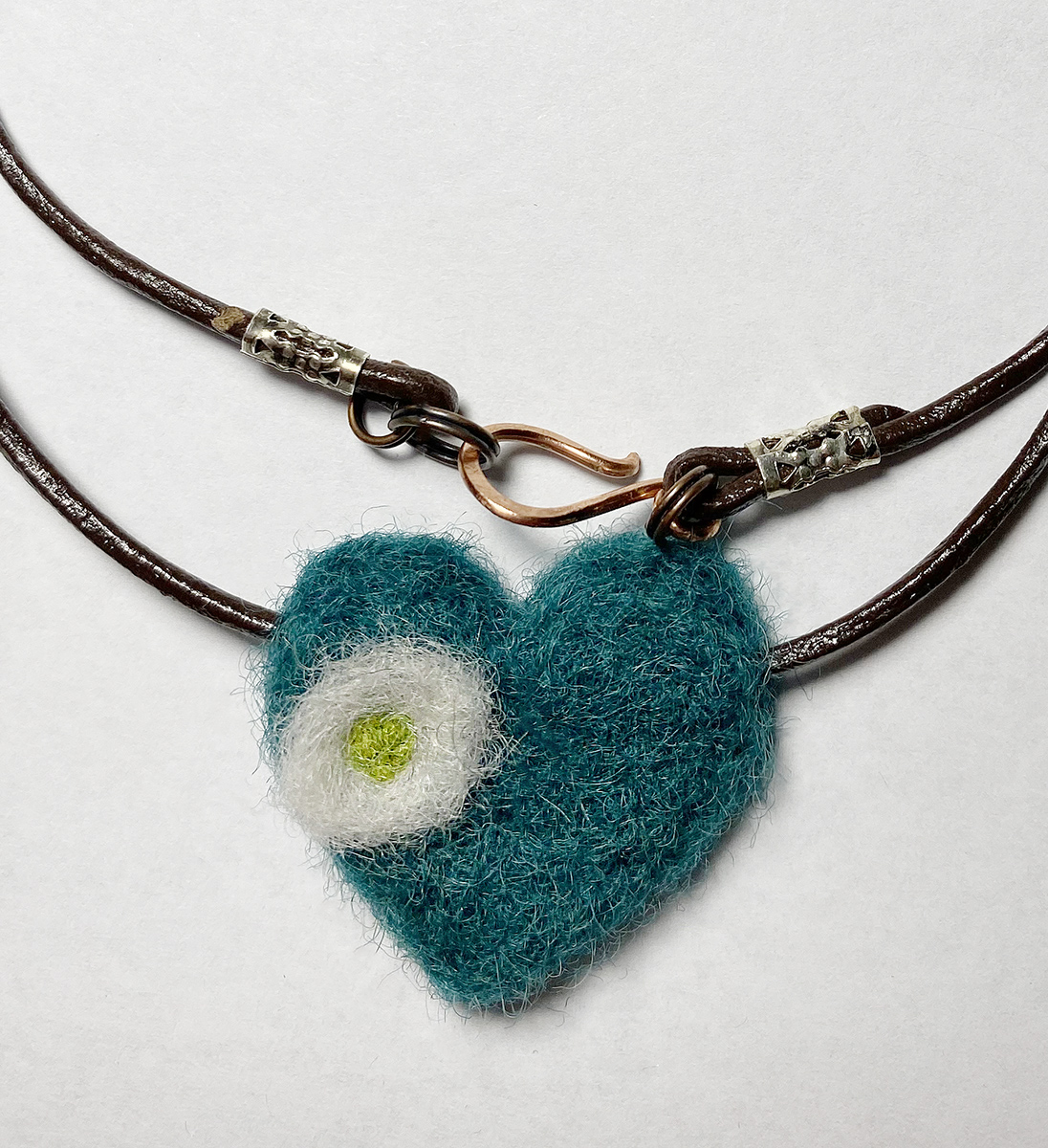 Needle felted Hearts and Flowers necklace in turquoise