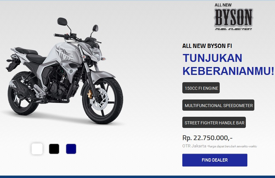 Yamaha Byson FI Terbaru 2017 Ada Warna Putih Silver, Biru