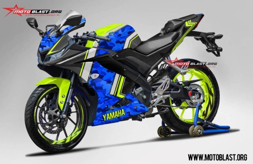 konsep modifikasi all new yamaha r15 army blue
