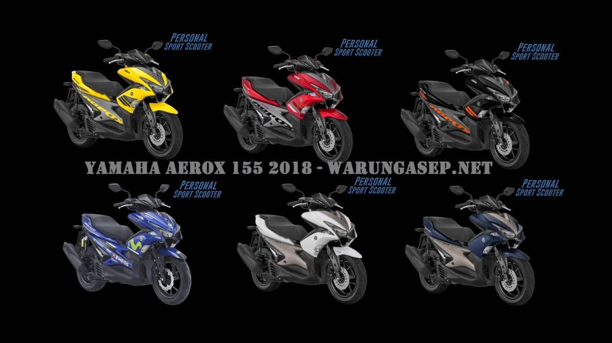 Yamaha Aerox 2018 Ada 6 Warna Baru, Harga Termurah Rp. 22.850.000 versi ABS Rp. 27.200.000