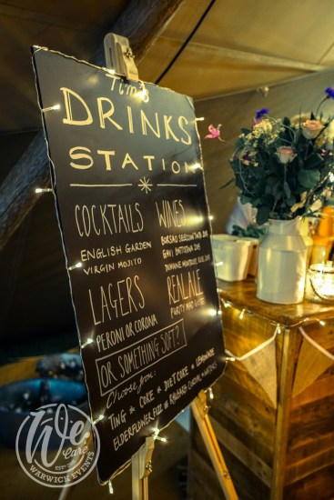 Party Drinks Station Sign for Cocktails and Wines
