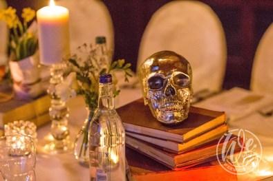 Shakespeare themed dinner table decor