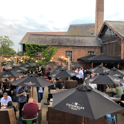 Outside pub area with parasols