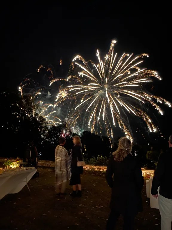Guests watching fireworks in night sky, on ambiently lit outdoor terrace during VIP hospitality