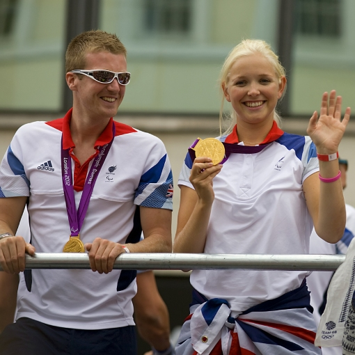 James Roe and Pam Relph with their Olympic medals