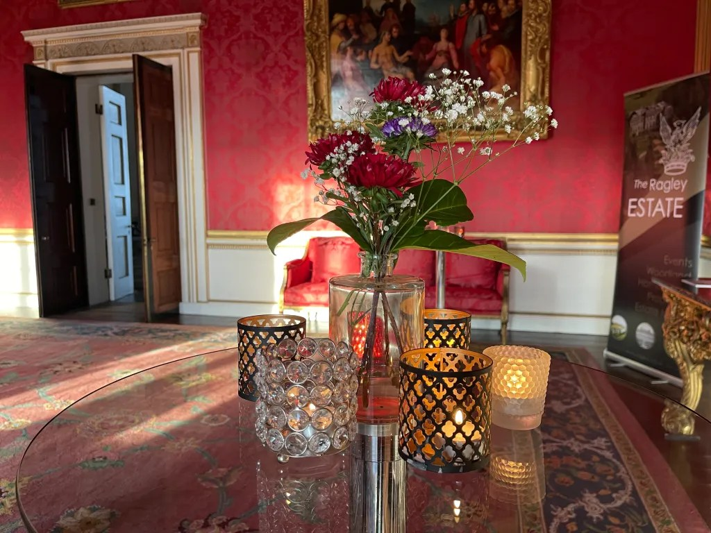 British grown flowers and tealights for VIP hospitality drinks reception