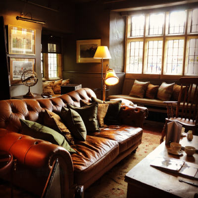 Leather sofas in cosy hotel lounge
