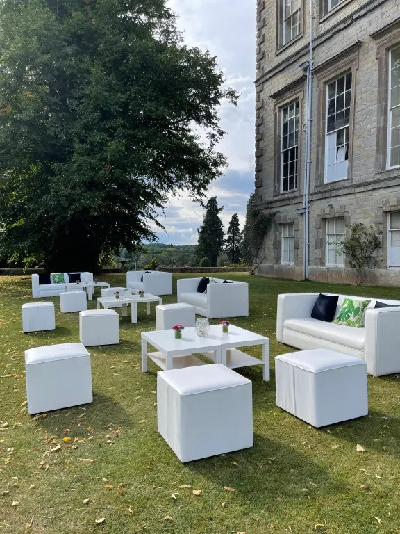 Oudoor sofas on terrace of stately home for VIP hospitality