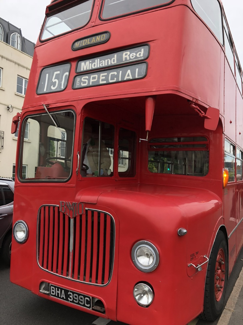 """Old red bus """"Midland Red Special"""" on roller sign"""