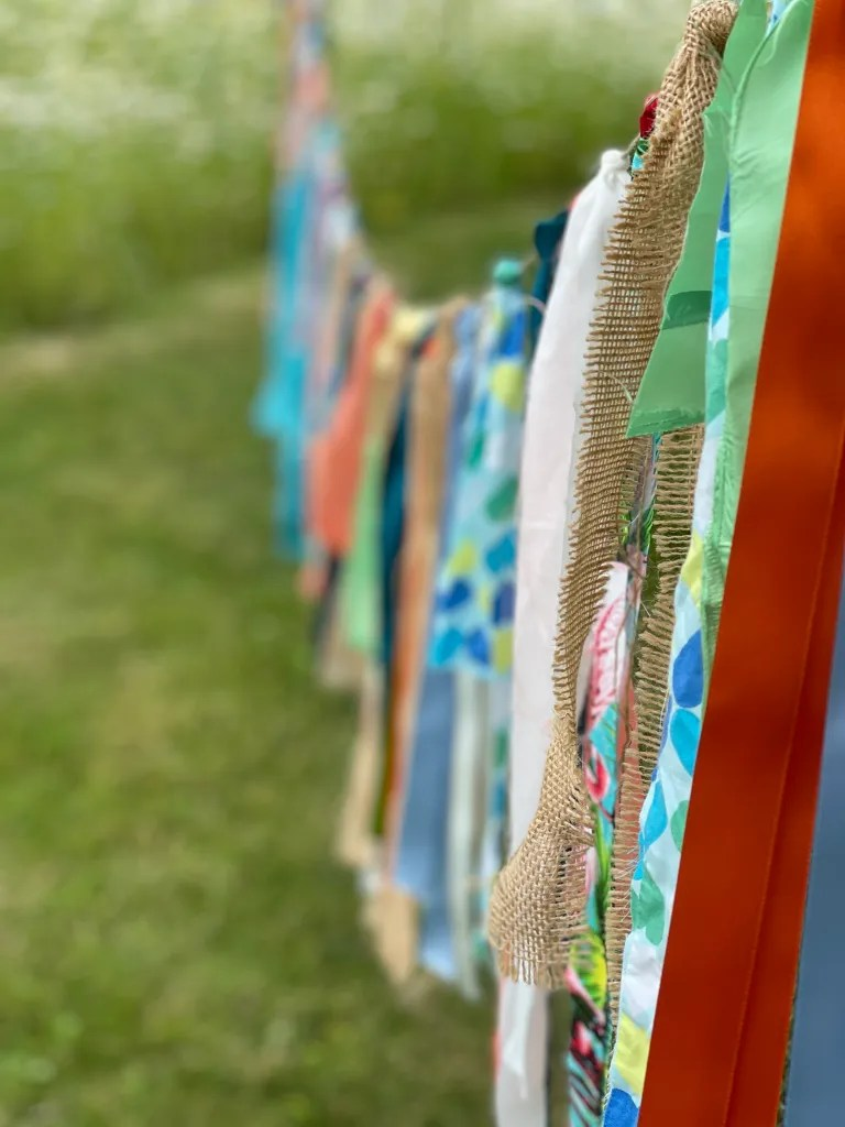Colourful ribbon bunting for rustic-chic party