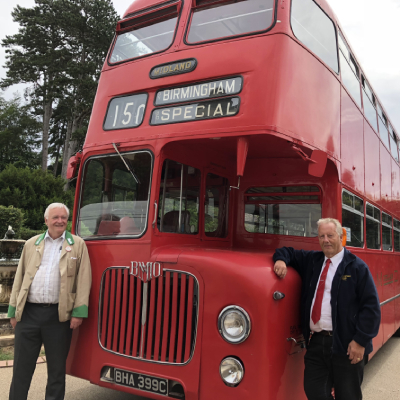 old fashioned red double decker bus