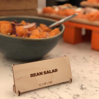 """wooden buffet cards """"bean salad"""""""