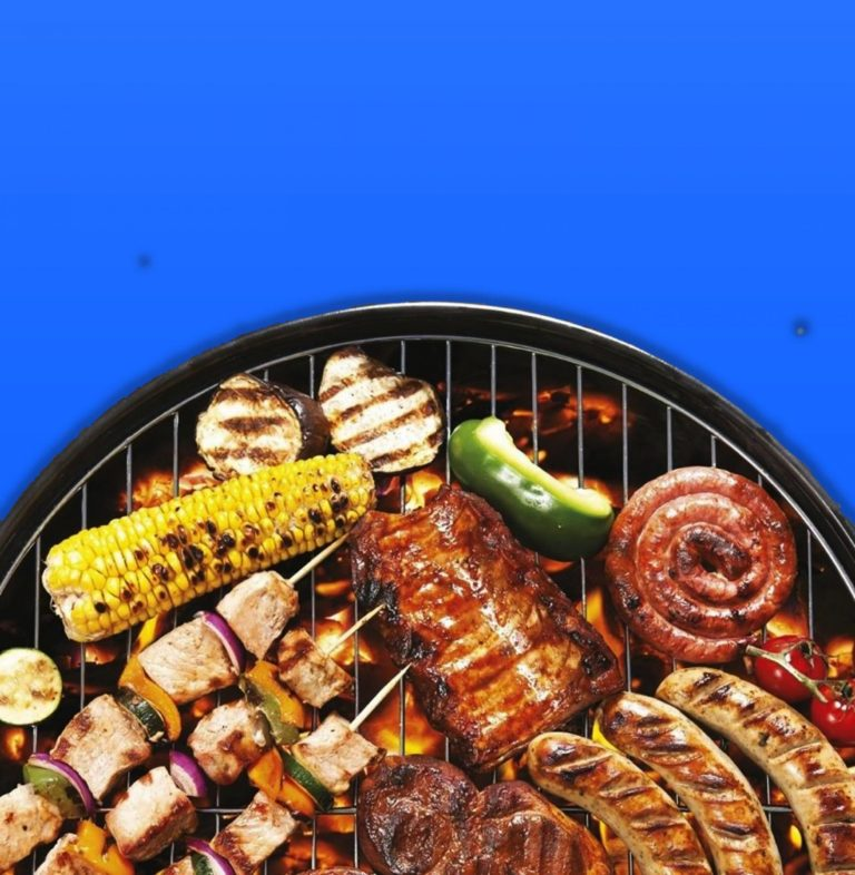 food on grill blue background