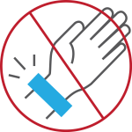 no hand with blue band icon