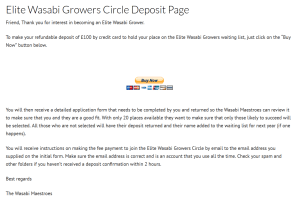 Elite Wasabi Growers Circle Order Deposit Order Page