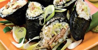 Home made spicy tuna sushi