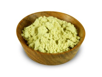 Fake wasabi from many manufacturers in a bowl. Contains artificial colouring, flavouring, GMS's, Allergens and other stuff with no health benefits.