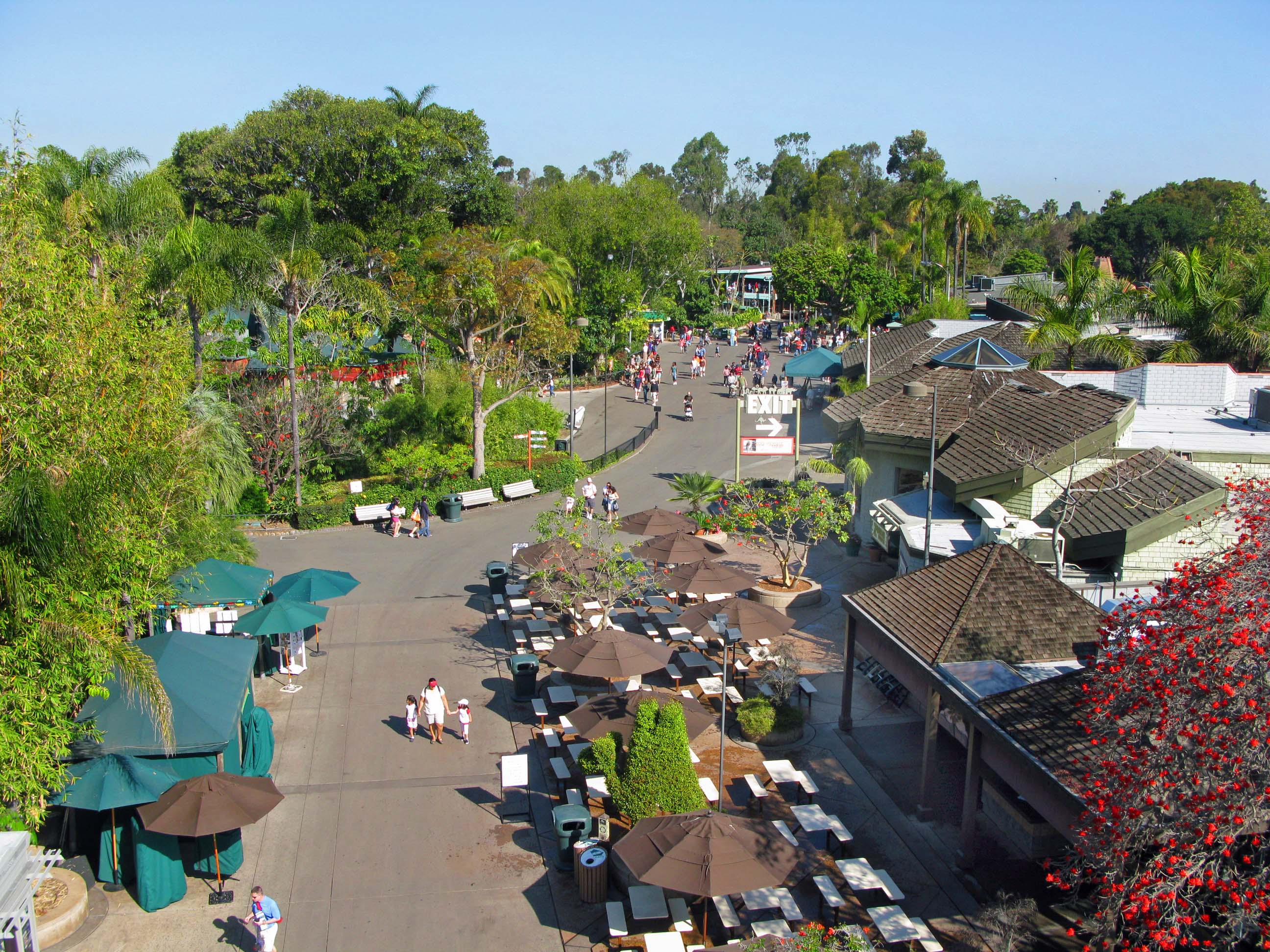 San Diego Zoo entrance area from the sky ride