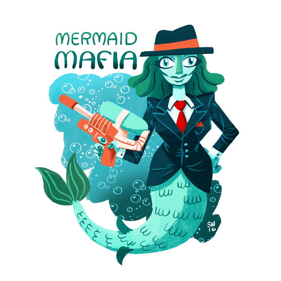 Underwater mermaid mafia member illustration