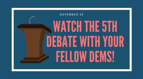 icon of a podium with invitation to watch the democratic debate