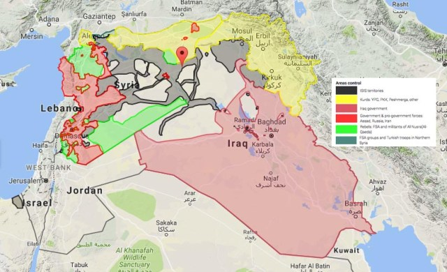 The location of Daesh and other forces in the Levant.