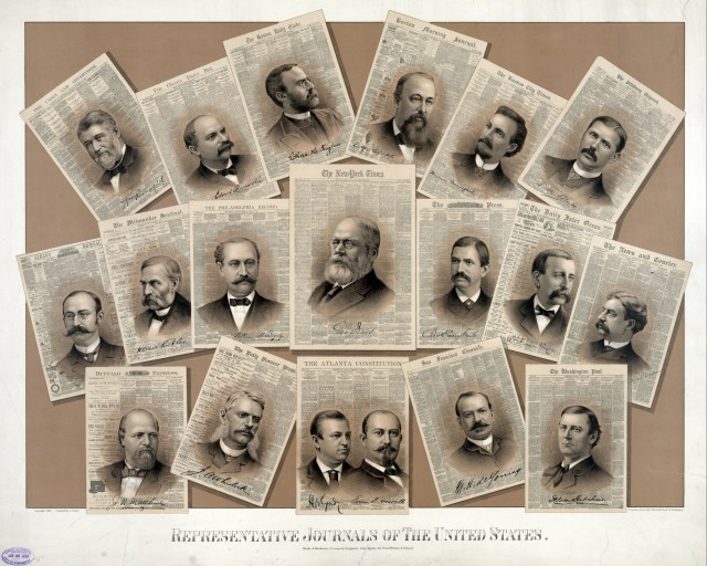 First row: The Union and Advertiser (William Purcell) - The Omaha Daily Bee (Edward Rosewater) - The Boston Daily Globe (Charles H. Taylor) - Boston Morning Journal (William Warland Clapp) - The Kansas City Times (Morrison Mumford) - The Pittsburgh Dispatch (Eugene M. O'Neill). Second row: Albany Evening Journal (John A. Sleicher) - The Milwaukee Sentinel (Horace Rublee) - The Philadelphia Record (William M. Singerly) - The New York Times (George Jones) - The Philadelphia Press (Charles Emory Smith) - The Daily Inter Ocean (William Penn Nixon) - The News and Courier (Francis Warrington Dawson). Third row: Buffalo Express (James Newson Matthews) - The Daily Pioneer Press (Joseph A. Wheelock) - The Atlanta Constitution (Henry Woodfin Grady & Evan Park Howell) - San Francisco Chronicle (Michael H. de Young) - The Washington Post (Stilson Hutchins).