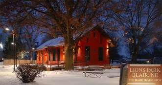 An earlier January snowfall lightly covers the Blair Depot in Lions Park.