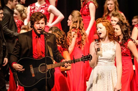 Nick Nelsen and Sarah Koch perform at the Blair sponsored show choir workshop and concert.