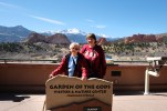 Dorothy Farthing and Vickie Lusk at the visitors center at the Garden of the Gods in Colorado Springs, Co.