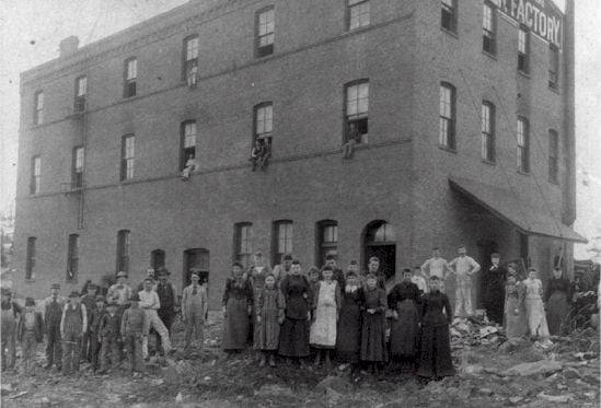 Washington Cracker Factory, about 1893 Hazel Rohner and her brothers John & Joe Rohner are somewhere in the photo.