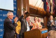 "Virginia Sen. Tim Kaine won the National Press Club's ""Politicians vs. Press"" spelling bee in 2013. (Courtesy of the National Press Club)"