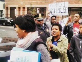 Mayor Bowser was ambushed by activist and protestors in response to her proposed Anti-Crime Bill during her appearance at the launch of the Anacostia Heritage Trail in Southeast on Saturday, Oct. 26. Photo courtesy of Twitter User: @2liveunchained.