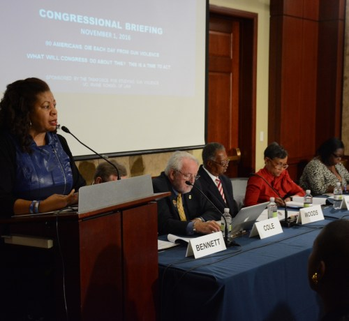 Nardyne Jefferies, founder of Stop Killing Innocent People (S.K.I.P.), speaks at the Congressional Briefing on Gun Violence and Trauma in the U.S. Capitol Visitor Center on Monday, Nov. 1 in Northeast. /Photo by Roy Lewis