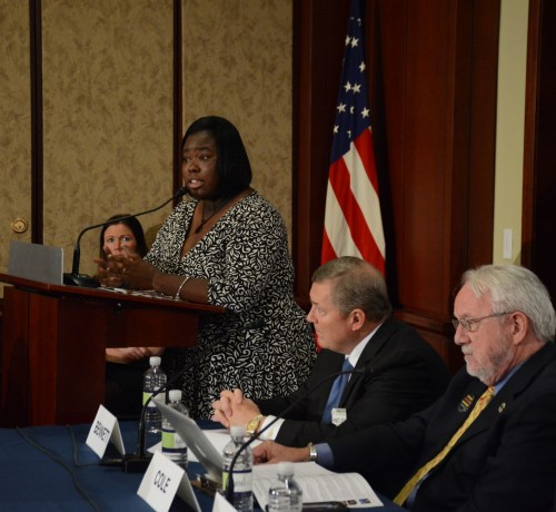 Camiella Williams, regional organizer for Generation Progress in Chicago, who lost 28 family members to gun violence, speaks at the Gun Violence and Trauma Congressional Briefing, held Monday, Nov. 1 in Northwest. /Photo by Roy Lewis