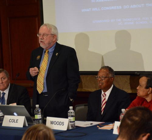 Jack Cole, co-founder of Law Enforcement Against Prohibition, speaks at the Gun Violence and Trauma Congressional Briefing, held Monday, Nov. 1 in Northwest. /Photo by Roy Lewis