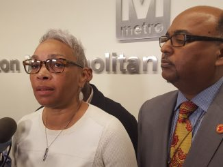 Amalgamated Transit Union Local 689 president Jackie Jeter (left) speaks to reporters after Metro's Public Safety Committee meeting on Dec. 15 at the transit agency's northwest D.C. headquarters.