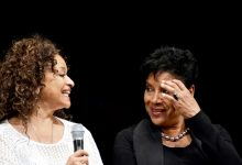 """(Top, left) The award-winning dancer and choreographer, Debbie Allen, writer, director, producer and one of the stars of the new multidisciplinary and dance-driven work, """"Freeze Frame . . . Stop the Madness,"""" is pictured with her equally talented sister, Phylicia Rashad, during a talk back following the show on Saturday, Oct. 29. Allen said, """"It's impossible to be an artist and not do something that reflects the issues, the pain, and examine possible solutions to the senseless violence and loss of innocent lives we are experiencing every day. Freeze Frame is a lens through which a balanced conversation can be experienced and a real call to action will be heard.""""/Photo by Travis Riddick"""