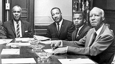 Rep. John Lewis (second from right), with activist Roy Wilkins of the NAACP (left), the Rev. Martin Luther King Jr. and labor leader A. Philip Randolph