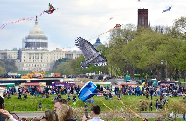 **FILE** Thousands gather on the grounds of the Washington Monument in celebration of the Annual Cherry Blossom Kite Festival.