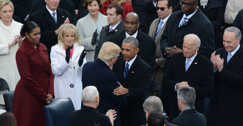 President Barack Obama, shakes hands with President-Elect Donald J. Trump as he arrives on stage for his swearing-in, at the 58th Presidential Inauguration on January 20, 2017. /Photo by Roy Lewis