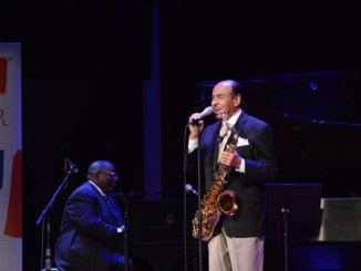 """Howard DC Jazz Awards: NEA Jazz Master Bennie Golson, tell his """"Killer Joe Story"""" to the people at A Night at The Kennedy Center: DC JazzFest Salutes Howard University Jazz concert and awards, in the concert hall on Monday June 13 2016 in Southwest DC. /Photo by Roy Lewis"""