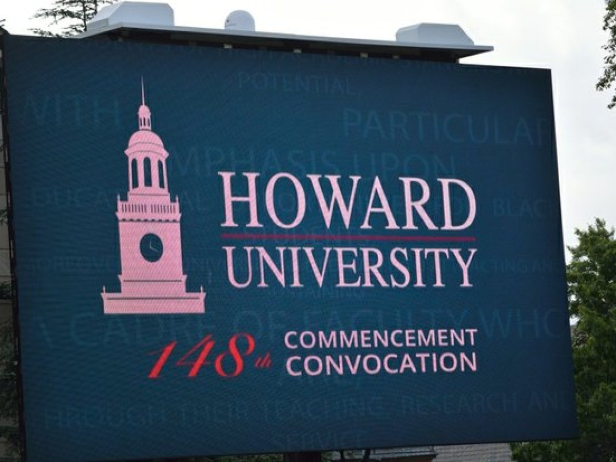 Marquee displayed during the 148th Commencement Convocation at Howard University on Saturday, May 7, 2016 in Northwest. /Photo by Patricia Little