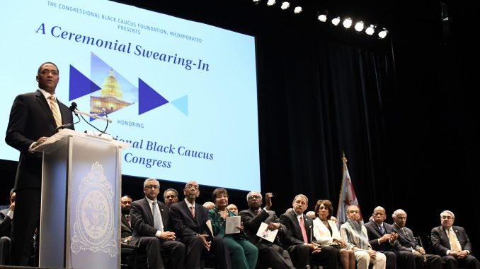 Rep. Cedric L. Richmond of Louisiana's 2nd Congressional District is sworn in as the 25th chair of the Congressional Black Caucus for the 115th Congress at the Warner Theatre in D.C. on Jan. 3. (Travis Riddick/The Washington Informer)