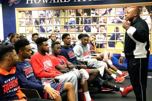 Former high school basketball coach Ken Carter, better known as Coach Carter, speaks to the Howard University basketball team on Saturday, Oct. 22 in the team's locker room. /Photo by Shevry Lassiter