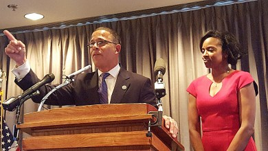 Former Maryland Lt. Gov. Anthony Brown speaks after being sworn in as a congressman during a ceremonial reception at the James Madison Memorial Building in Southeast on Jan. 3. (William J. Ford/The Washington Informer)